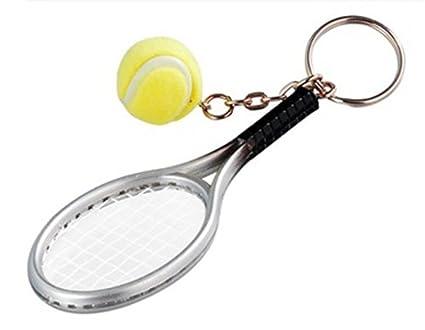 sungpunet 1 pieza Mini raqueta de tenis llavero Raqueta de tenis de aleación de Creative con forma de bola llavero clave Anillo llavero mejor regalo ...