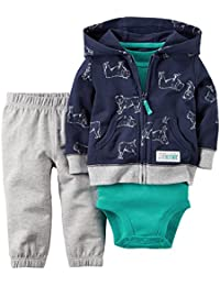 Carter's Baby Boys' 3 Piece Cardigan Set (24 Months, Navy Bulldog)
