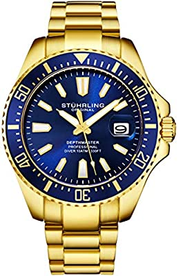 Stuhrling Original Mens Dive Watch - Pro Sport Diver with Screw Down Crown and Water Resistant to 330 Ft. - Analog Dial, Quartz Movement - Depthmaster Watches for Men Collection from Stuhrling Original