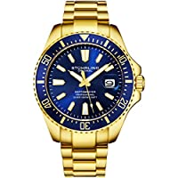 Stuhrling Original Mens Dive Watch - Gold Tone Stainless Steel Bracelet Blue Dial Analog Watch with Screw Down Crown for 330 Ft. of Water Resistance Quartz Movement - Depthmaster Watches for Men Colle