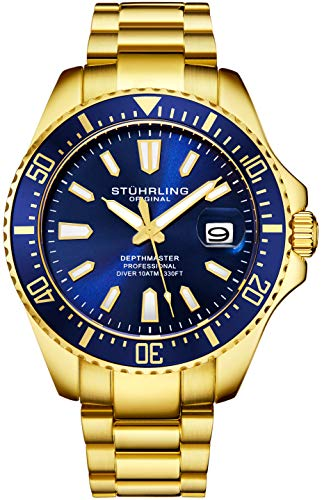 Stuhrling Original Mens Dive Watch - Gold Tone Stainless Steel Bracelet Blue Dial Analog Watch with Screw Down Crown for 330 Ft. of Water Resistance Quartz Movement - Depthmaster Watches - Used Mens Watches