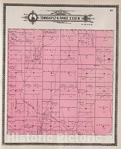 Historic Map   Dawson County Nebraska, County Atlas Map, Township 12 N. Range XXIII W. 1904   Vintage Wall Art   44in x 54in
