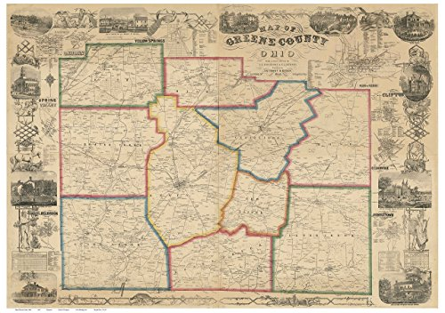 Greene County Ohio 1855 - Wall Map with Homeowner Names - Farm Lines - Old Map - Ohio Greene The