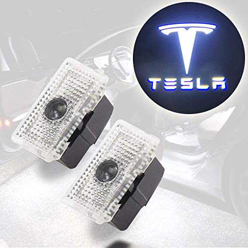 CoolKo Newest Power Welcome Lamp Car Led Courtesy Door Projector Light Ghost Shadow Lights for Tesla Model S, Model X and Model 3 [White Blue - Tesla Logo and Name]