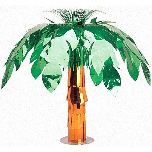 Metallic Palm Tree Table Decor (Sun-Sational Summer Luau Party Palm Tree Centerpiece Table Decoration, Foil, 20