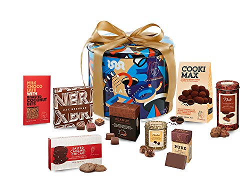Choco Desire Collection Gift Set 3: Large Round Art-Deco Tin with Cooki Max, Chicao, Chockies, Peanut Chocolate Cubes, Bonbons, Thins, Choco Late, and Nuts by Max Brenner - Kosher