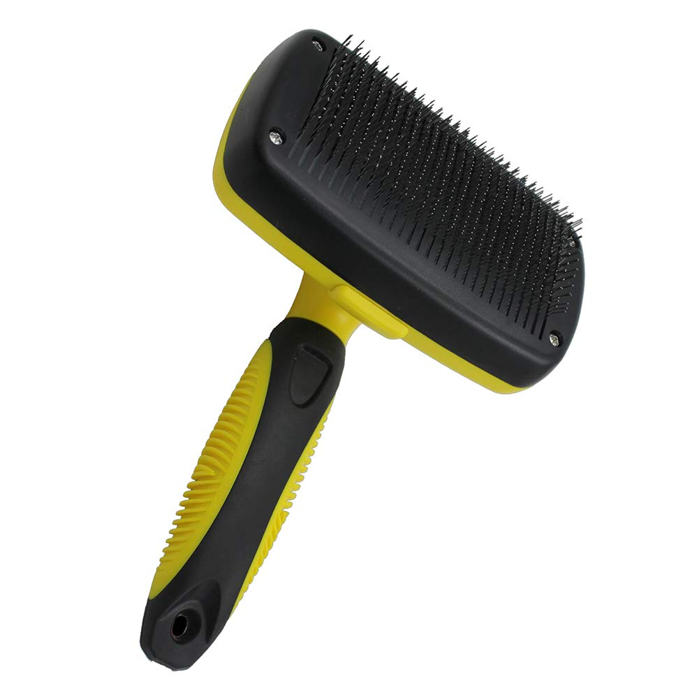 Pet Grooming Brush, Self-Cleaning Slicker Brushes, Best Shedding Tools, Easy to Clean Grooming Brush Removes Tangles, for Dogs,Cats,Rabbits, Yellow