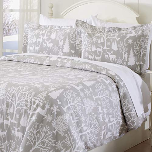 Great Bay Home Extra Soft Printed Flannel Duvet Cover with Button Closure. 100% Turkish Cotton 3-Piece Set with Pillow Shams. Belle Collection (King, Enchanted Woods)