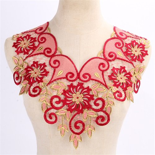 1 pcs Embroidered Lace Neckline Collar Applique Motif Venice Patch Embossed Decorated Sewing for Craft (#5)