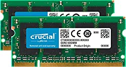 Crucial 4gb Kit (2gbx2) Ddr2 667mhz (Pc2-5300) Cl5 Sodimm 200-pin Notebook Memory Modules Ct2kit25664ac667 Ct2cp25664ac667