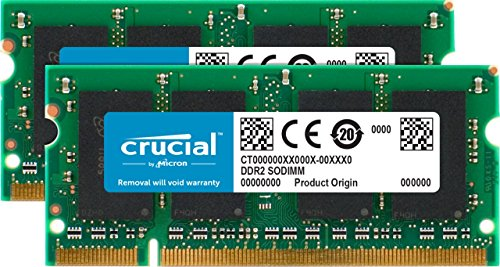 (Crucial 4GB Kit (2GBx2) DDR2 800MHz (PC2-6400) CL6 SODIMM 200-Pin Notebook Memory Modules CT2KIT25664AC800)