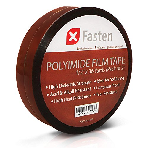 lm Tape, High Heat Kapton Tape for 3D Printing Bed and Electronics Repair, 1/2-Inch by 36-Yard, Pack of 2, 7500V Dielectric Strength ()
