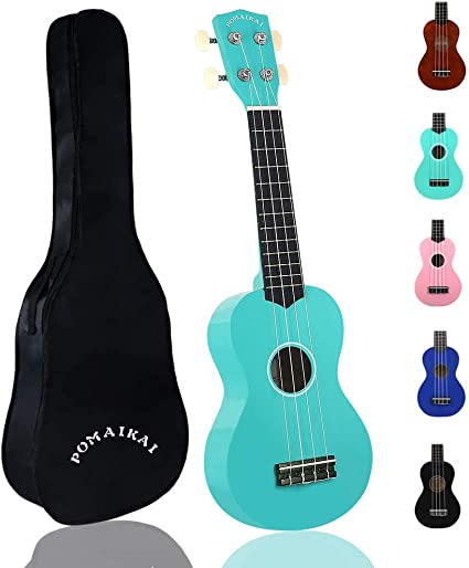 Pomaikai Soprano Ukulele For Beginners Kid Guitar 21 Inch Ukelele Instrument For Adults Wood Toddler Guitar Small Hawaiian Ukalalee Starter With Gig Bag Light Blue Musical Instruments