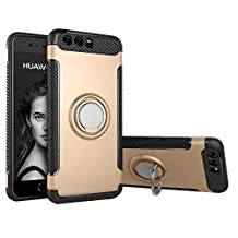 COOLKE Dual Layer Shockproof TPU Silicone + PC Hard Back shell 360 Rotating Ring Grip Holder Kickstand with Back Magnetic Circle Protective Case Cover for huawei p10 plus - Golden
