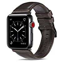 OUHENG Compatible con Apple Watch Band 42 mm 44 mm, Reemplazo de banda de cuero genuino Compatible con Apple Watch Serie 4 Serie 3 Serie 2 Serie 1 (42 mm 44 mm), Banda negra parda con adaptador negro