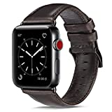 OUHENG Compatible with Apple Watch Band 42mm 44mm, Genuine Leather Band Replacement Compatible with Apple Watch Series 4 Series 3 Series 2 Series 1 (42mm 44mm), Brownish Black