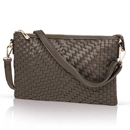 (Pewter Crossbody Bag for Women - Woven Faux Leather Clutch Purse Wristlet)