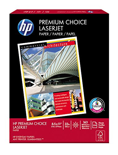 HP Paper, Premium Choice Laserjet, 32lb, 8.5x11, Letter, 100 Bright, 250 Sheets / 1 Half-Ream, Made In The USA