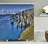 Ambesonne Room Decorations Collection, Atlantic Coast Cliffs at Mizen Head County Cork Ireland Ocean Coastal Scenery Image, Polyester Fabric Bathroom Shower Curtain Set with Hooks, Blue Grey Olive