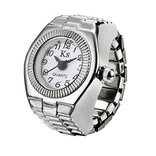 Start Unisex Men Women Couple Ring Watch Creative Elastic Stainless Steel Finger Watch (White)