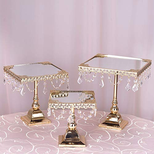 (Efavormart Set of 3 Gold Square Mirror Top Cup Cake Riser Centerpiece Stand Wedding Birthday Party Dessert Rise Cake Display Stand)