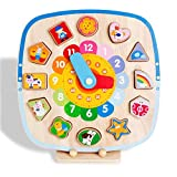 Magnetic Clock Toy Teaching Time Wooden Shape Sorting...