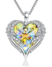 Heart Necklaces For Women Angel wings Crystal Necklace Romantic Anniversary Gift For Her Birthday Gifts For Mom Wife