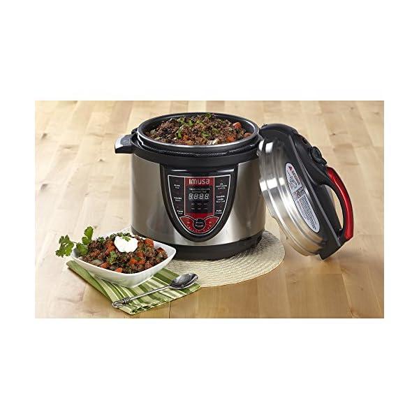 IMUSA USA 5Qt Electric Stainless Steel 5-Qt. Bilingual Digital Pressure Cooker, Red (Insta-Pot) 6