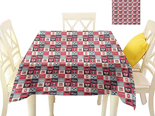 Table Cloth London,Retro Traditional London Icons in Squares United Kingdom Europe Travel Vacation,Multicolor Summer Table Cloths W 54