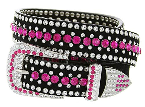 (Hagora Women Colorful Zirconia & Silver Studs 40''-50'' Long Metal Buckle Belt,Pink Small)