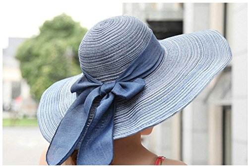 KitMax (TM) Women Fashion Bowknot Decor Summer Outdoor UV Protect Beach Sun Large Brimmed Foldable Cap Hat (Hats For Cheap)