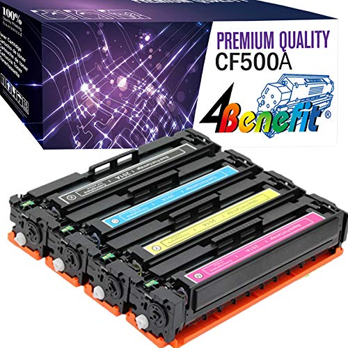 - 4 Benefit Compatible Replacement for HP 202A CF500A CF501A CF502A CF503A Toner Cartridge for use with HP M254, MFP M280, MFP M281, High Yield 4 Pack
