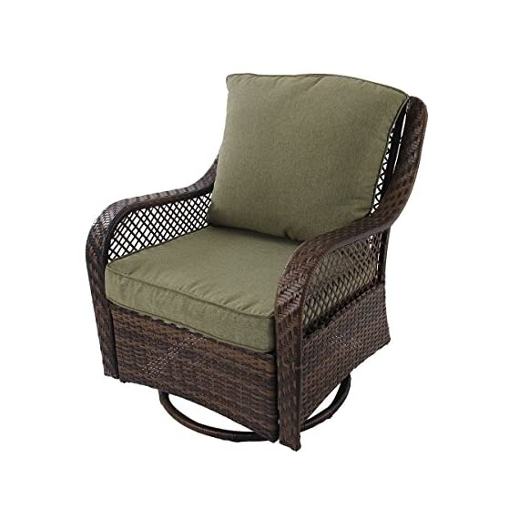 "PHI VILLA Rattan Swivel Rocking Chairs 3 PC Patio Conversation Set, 2 Cushioned Chairs & 1 Side Table - Special Design: 360-degree swivel performing chairs with gentle rocking ability. The outdoor sofa set features generous, extra deep seat, creating the superior comfort. 360 degree full motion sofa gives you an enjoyable and cozy feeling Overall size(fully assembled): Swivel chair: W30.7"" x L30.5"" x H38.2"", Coffee Table: W23.8"" x L23.8"" x H24"" Occasions: Ideal for any outdoor space including yards, patios, gardens, porches, balcony or indoors if you want. Enjoy eating, gaming or sun bath with friends or family on this set. Rust and weather resistant. Perfect for outdoor activities - patio-furniture, patio, conversation-sets - 51SJycaxoEL. SS570  -"