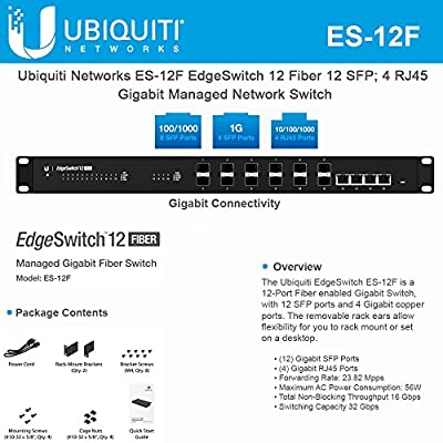 EdgeSwitch ES-12F 12 Fiber 12xSFP 4xRJ45 Gigabit Managed Network Switch (12 Gigabit SFP Ports; 4 Gigabit RJ45 Ports; 1 Serial Console Port; 32 Gbps Switching Capacity)