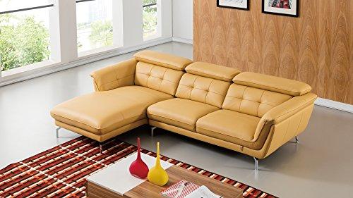 American Eagle Furniture EK-L083R-YO Fremont Modern Italian Leather Left Facing Sectional, 111