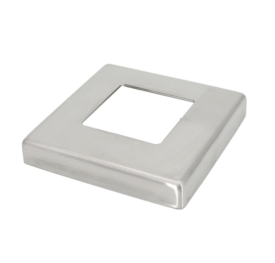Stainless Steel 316 Small Base Flange Square Cover for 1-1/2'' Satin Square Post Fitting, Satin Finish