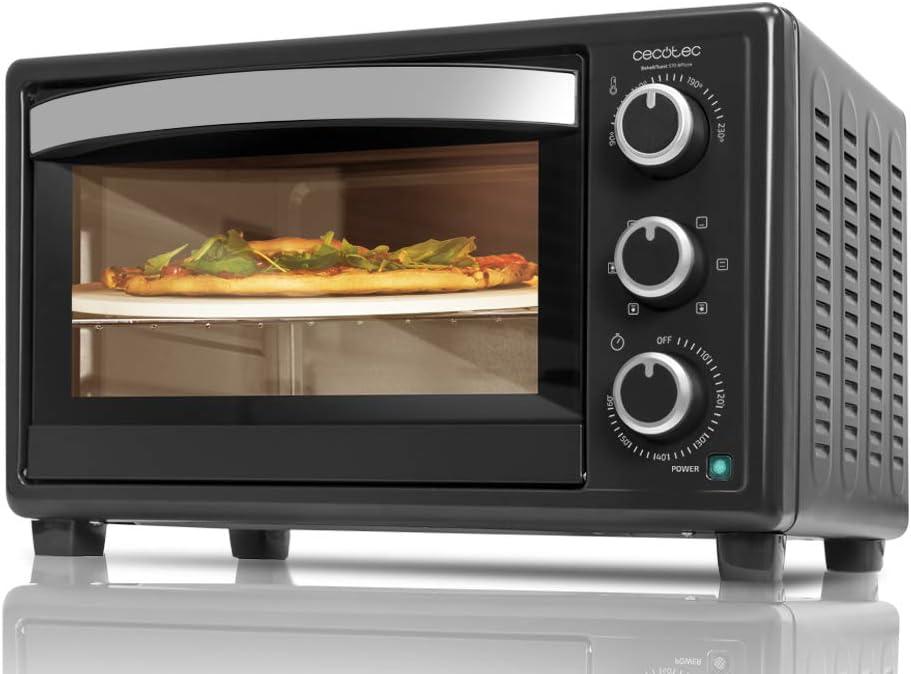 Cecotec Bake&Toast 570 - Horno Conveccion Sobremesa, Capacidad de 26 litros, 1500 W, 6 Modos, Piedra Especial para cocinar Pizza, Temperatura hasta 230ºC y Tiempo hasta 60 Minutos, Negro