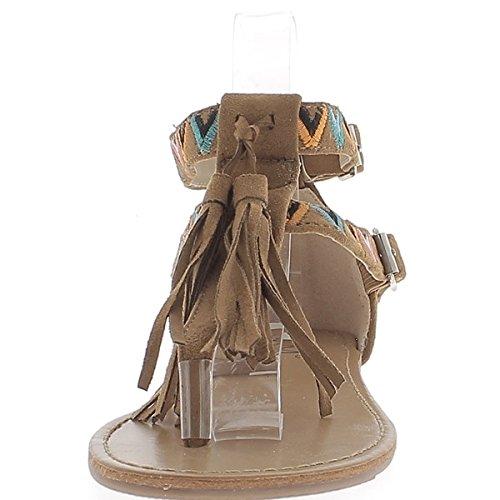 Nu-Pieds Femme Camel avec Motifs Colorés à Frange et Entre Doigt