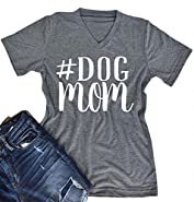 Women V-Neck Dog Mom Letters Print Tops Funny T-Shirt Casual Short Sleeve Blouse