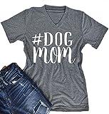 Women V-Neck Dog Mom Letters Print Tops Funny T-Shirt Casual Short Sleeve Blouse size Medium (Gray)