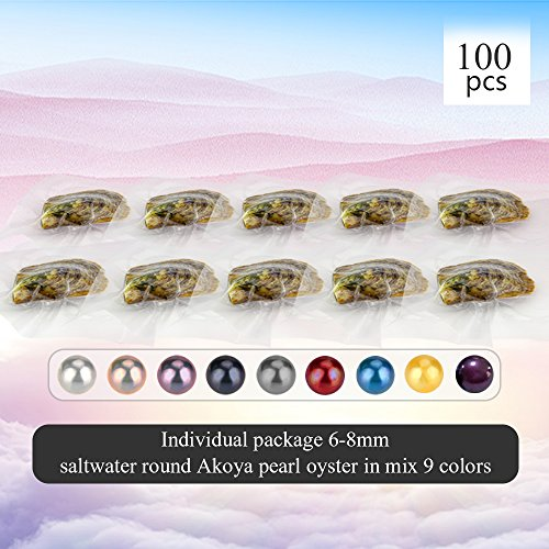 100PCS of Mixed 9 Colors Individual Packed 6-8mm Saltwater Round Akoya Cultured Pearl Oyster by NY Jewelry (Image #1)