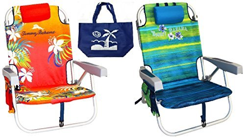 2 Tommy Bahama Backpack Beach Chairs (1 Red And 1 Green) + 1 Medium Tote Bag