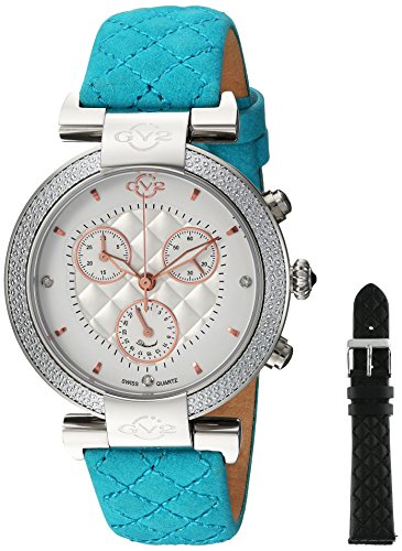 GV2-by-Gevril-Womens-Berletta-Chrono-Swiss-Quartz-Stainless-Steel-and-Leather-Casual-Watch-ColorGreen-Model-1555