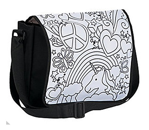 Color Your Own Messenger Bag Rainbow Unicorn Peace Heart Canvas with 8 Fabric Markers Bundle