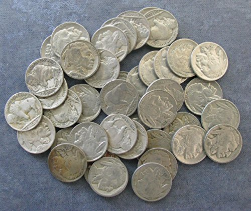 40 (Roll) Mixed Date Buffalo Nickels Good or Better Full Dates
