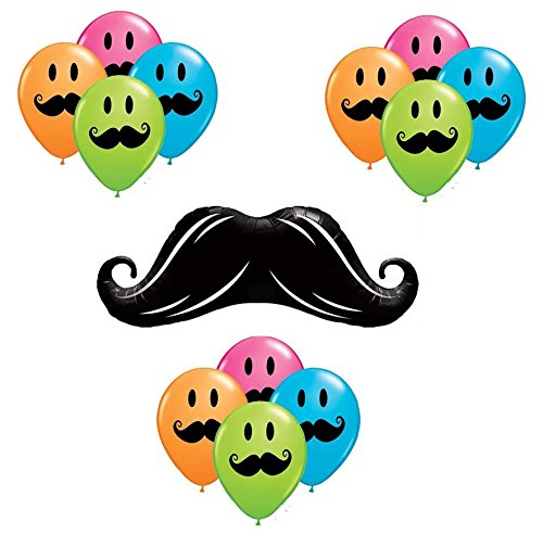 13 Piece Mustache Balloons Color Latex and Mylar Party Decorations]()