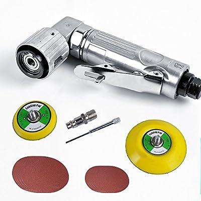 AceFox Mini Silver Air Orbital Sander Power tool + Sanding Discs + 2 Sanding Pads