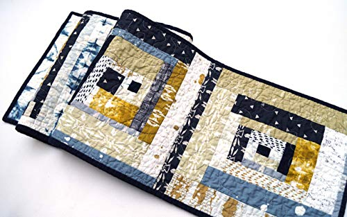 - Southwest Style Quilted Patchwork Table Runner in Mustard Yellow and Indigo