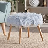 Cheap Christopher Knight Home 300443 Living Hudson Mid-Century Faux Fur Ottoman (Light Blue)