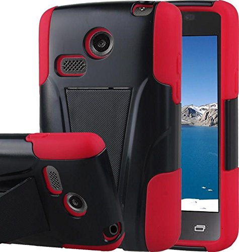 LG Sunrise Case, LG Lucky Case - Armatus Gear (TM) DUO SHIELD Hybrid Armor Case Phone Cover For NET10 LG Sunrise L15G and TRACFONE LG Lucky L16C - Red / Black